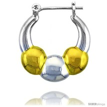 Sterling Silver Snap-down-post Hoop Earrings, w/ 2-Tone Gold Plate Accent, 1  - $60.76