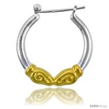 Sterling Silver Snap-down-post Rams Head Hoop Earrings, w/ 2-Tone Gold Plate  - $34.66