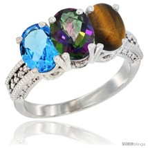 Size 5.5 - 14K White Gold Natural Swiss Blue Topaz, Mystic Topaz & Tiger... - $712.53