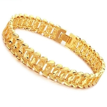 U18K Golden Plated Man Trendy Bracelet Bangle Jewelery with Buckle-Golden - $22.50