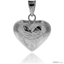 Sterling Silver Hand Engraved Large 1in  Hollow Puffed Heart, with 18in  Box  - $38.81