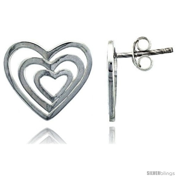 Primary image for Sterling Silver Heart Post Earrings, 9/16in  (14
