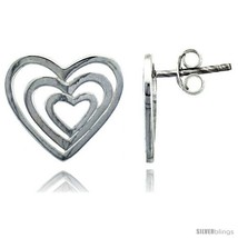 Sterling silver heart post earrings 9 16 14 mm thumb200