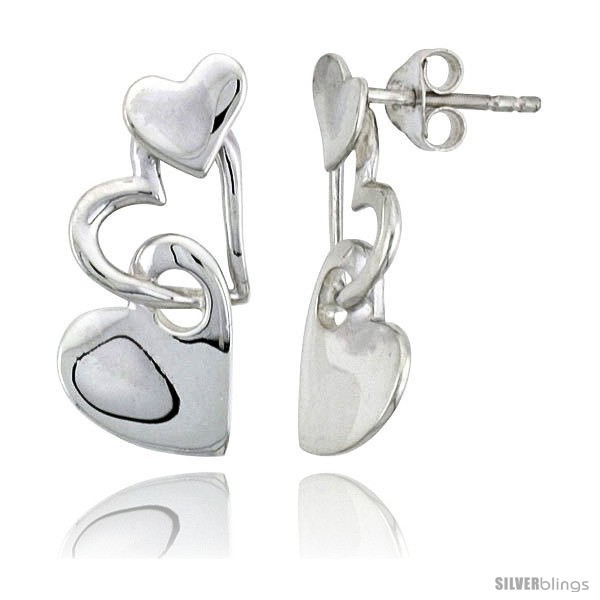 Primary image for Sterling Silver Heart Post Earrings, 7/8in  (22