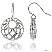 Sterling Silver Round Hook Earrings, 13/16in  (21 mm) -Style  - $65.55