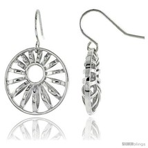 Sterling Silver Round Hook Earrings, 13/16in  (21 mm) -Style  - $72.00