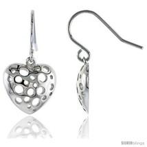 Sterling Silver Heart Hook Earrings, 9/16 (14 mm) -Style  - $30.09