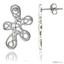 Sterling Silver Free-form Post Earrings, w/ Bubbles, 15/16in  (24  - $53.73