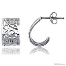 Sterling silver flower post earrings 9 16 14 mm thumb200