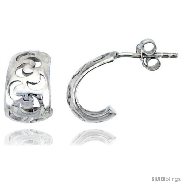Primary image for Sterling Silver Half-moon Post Earrings, 1/2in  (13