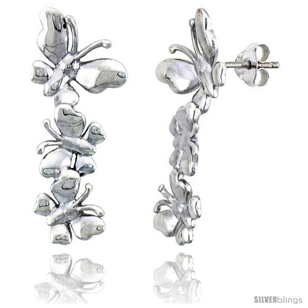 Primary image for Sterling Silver Butterfly Post Earrings, 13/16in  (30