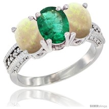 Size 9 - 14K White Gold Natural Emerald & Opal Sides Ring 3-Stone 7x5 mm... - $755.56