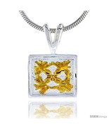 Hawaiian Theme Sterling Silver 2-Tone Flower Pendant, 3/8 (10 mm) tall -... - $39.16
