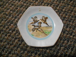 Old Vintage Small Ashtray Trinket Plate Dish Pheasant Birds Flying Hunti... - £15.34 GBP