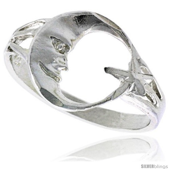 Sterling silver moon star ring polished finish 1 2 in wide