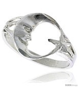 Size 6.5 - Sterling Silver Moon & Star Ring Polished finish 1/2 in  - £11.91 GBP