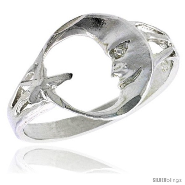 Size 6.5 - Sterling Silver Moon & Star Ring Polished finish 1/2 in