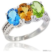 Size 6.5 - 14K White Gold Natural Swiss Blue Topaz, Citrine & Peridot Ring  - $725.08