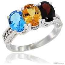 Size 8.5 - 14K White Gold Natural Swiss Blue Topaz, Citrine & Garnet Ring  - $725.08