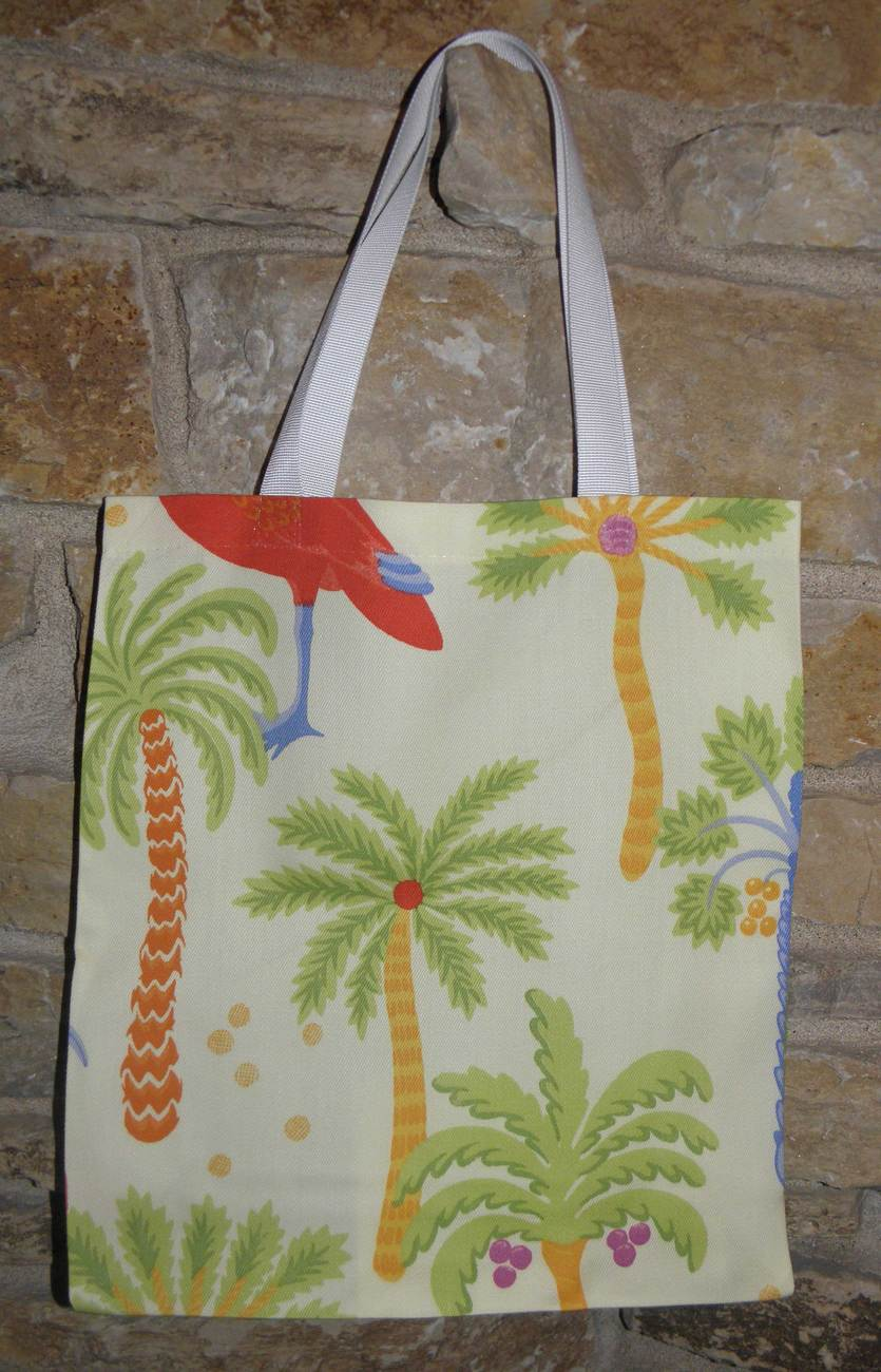 Primary image for Handmade Green, Yellow, Orange Palm Tree Tote Bag