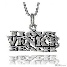 Sterling Silver I LOVE VENICE BEACH Word Neckla... - $24.45