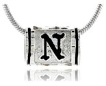 Ling silver pandora type hawaiian initial letter n barrel bead pendant 1 2 in wide thumb155 crop