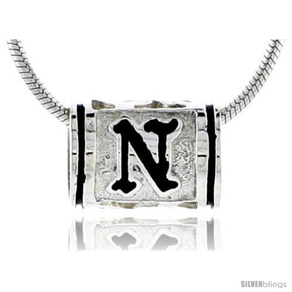 Sterling silver pandora type hawaiian initial letter n barrel bead pendant 1 2 in wide