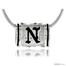Sterling Silver Hawaiian Initial Letter N Barrel Bead Pendant, 1/2 in  - $22.37