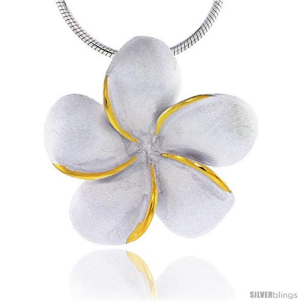 Hawaiian theme sterling silver 2 tone plumeria flower slider pendant 1 25 mm tall