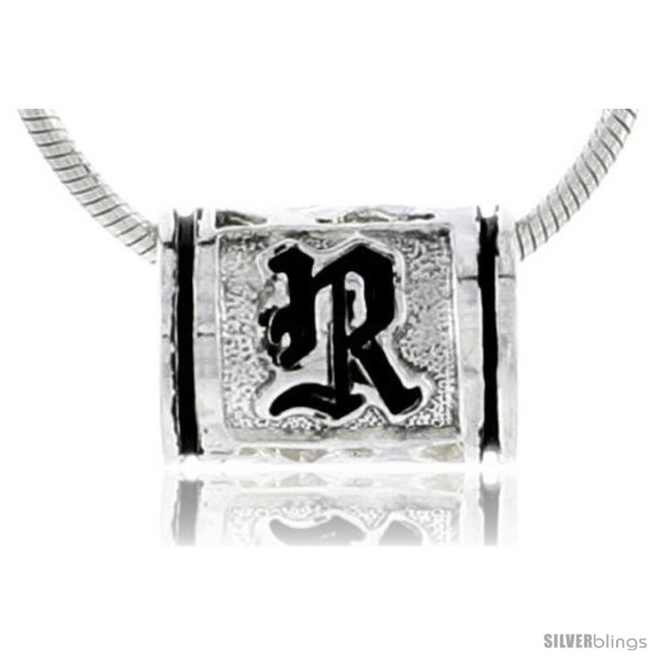 Sterling silver pandora type hawaiian initial letter r barrel bead pendant 1 2 in wide
