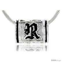 Sterling silver pandora type hawaiian initial letter r barrel bead pendant 1 2 in wide thumb200