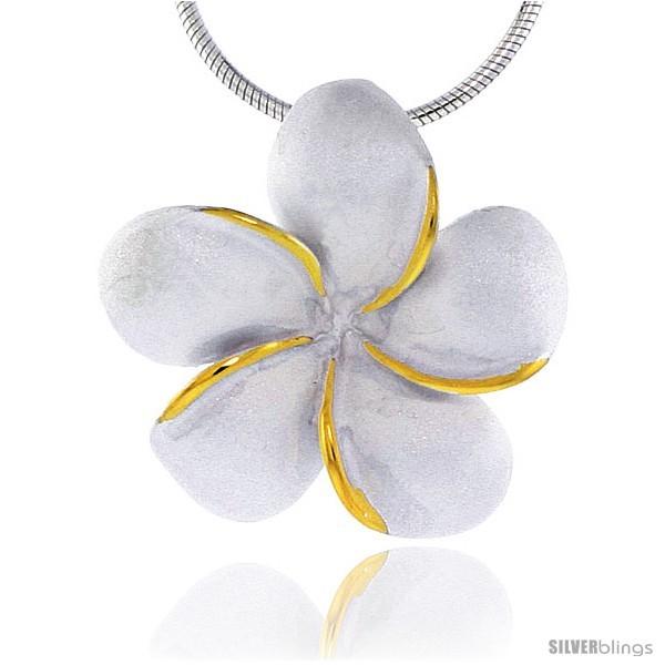 Hawaiian Theme Sterling Silver 2-Tone Plumeria Flower Slider Pendant, 1 (25 mm)