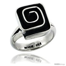 Size 7 - Sterling Silver Square shape Swirl Ring 5/8 in  - $55.68