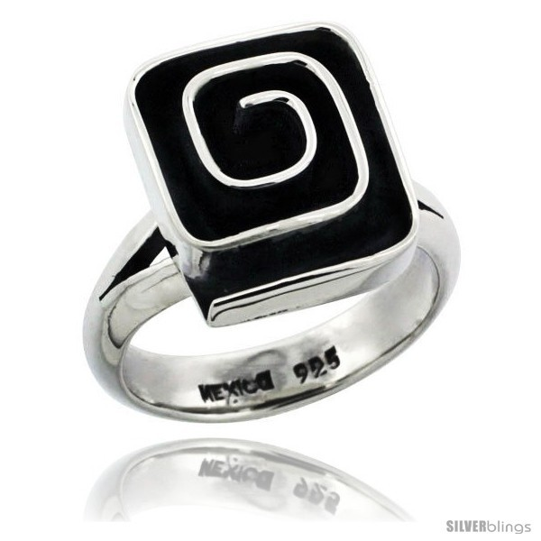 Sterling silver square shape swirl ring 5 8 in wide
