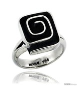 Size 9.5 - Sterling Silver Square shape Swirl Ring 5/8 in  - $55.68