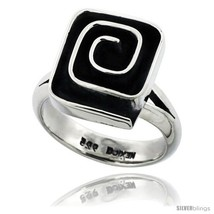 Size 6 - Sterling Silver Square shape Swirl Ring 5/8 in  image 2