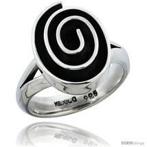 Sterling silver oval shape swirl ring 11 16 in wide thumb200
