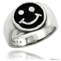 Size 8.5 - Sterling Silver Happy Face Wedding Band Ring, 1/2 in  - $28.63