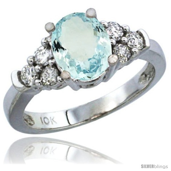 14k White Gold Ladies Natural Aquamarine Ring