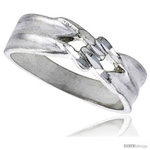 Size 8.5 - Sterling Silver Freeform Ring Polished finish 3/16 in wide -S... - $22.54
