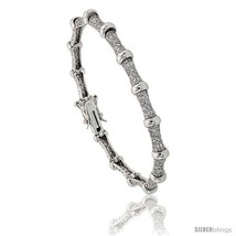 Sterling Silver Bead Station CZ Bracelet, 7 in., 1/4 in. (6 mm)  - $95.94