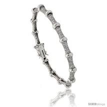Sterling Silver Bead Station CZ Bracelet, 7 in., 1/4 in. (6 mm)  - $95.94