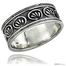 Size 8.5 - Sterling Silver Floral Pattern Wedding Band Ring w/ Rope Edge  - $23.24