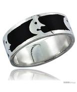 Size 12.5 - Sterling Silver Moon Man Wedding Band Ring on black enamel  - £25.60 GBP