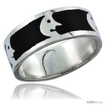 Size 7.5 - Sterling Silver Moon Man Wedding Band Ring on black enamel  - $33.69