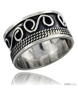 Sterling silver s scroll wedding band ring w rope design 1 2 in wide thumbtall