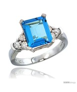 Size 6.5 - 10K White Gold Natural Swiss Blue Topaz Ring Emerald-shape 9x... - $813.44