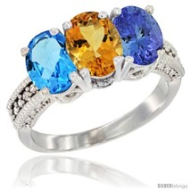Size 9 - 14K White Gold Natural Swiss Blue Topaz, Citrine & Tanzanite Ring  - $765.87