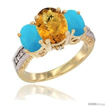 Llow gold ladies 3 stone oval natural whisky quartz ring turquoise sides diamond accent thumb200