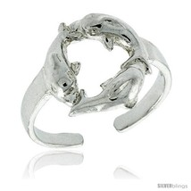 Sterling Silver Triple Dolphin Adjustable (Size 3 to 6) Toe Ring / Kid's... - $14.33